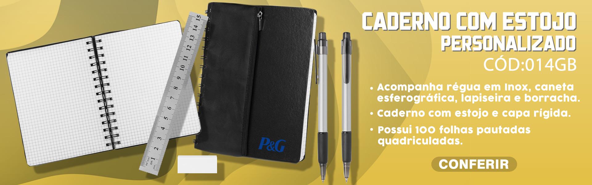 Caderno de Anotações com estojo Personalizado 014GB