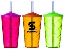 Copo Espiral Neon Com Tampa e Canudo 550ml 2301 Personalizado